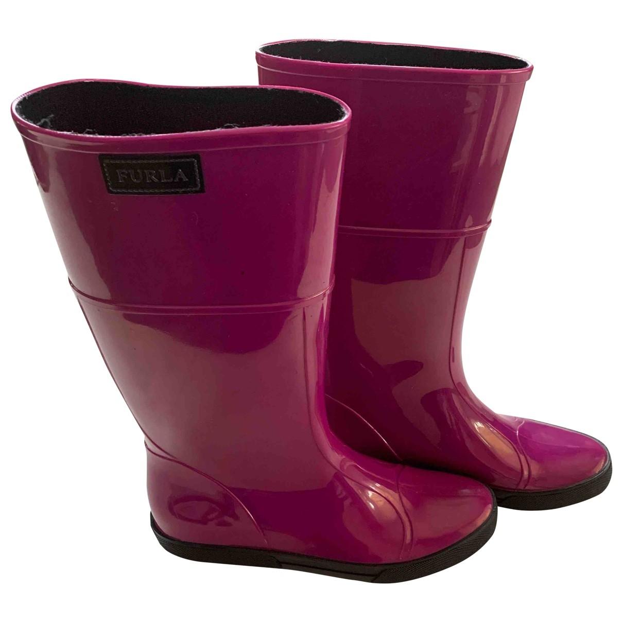 Furla - Bottes   pour femme en caoutchouc - rose
