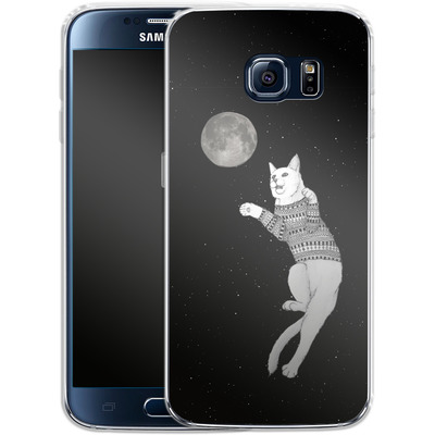 Samsung Galaxy S6 Silikon Handyhuelle - Hipster Cat Trying to Catch the Moon von Barruf