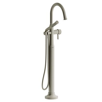 Momenti MMRD39JBN-SPEX 2-Way Thermostatic Coaxial Floor Mount Tub Filler with J Lever Handle and Hand Shower  in Brushed