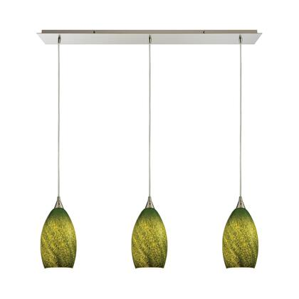 10510/3LP-GRS Earth 3 Light Pendant in Satin Nickel and Grass Green