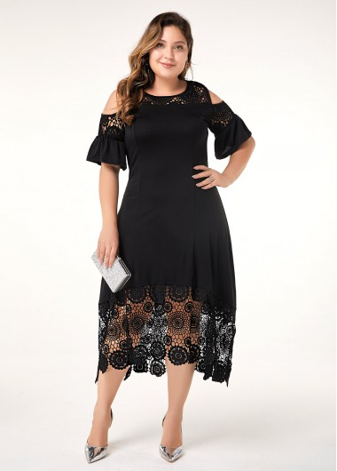 Women'S Black Cold Shoulder Plus Size Casual Dress Solid Color Half Sleeve Lace Patchwork Maxi Dress By Rosewe - 3X