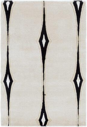 LMN3002-58 5' x 8' Rug  in Beige and Black and Taupe and Light Gray and