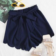 Scallop Hem Paperbag Waist Belted Shorts