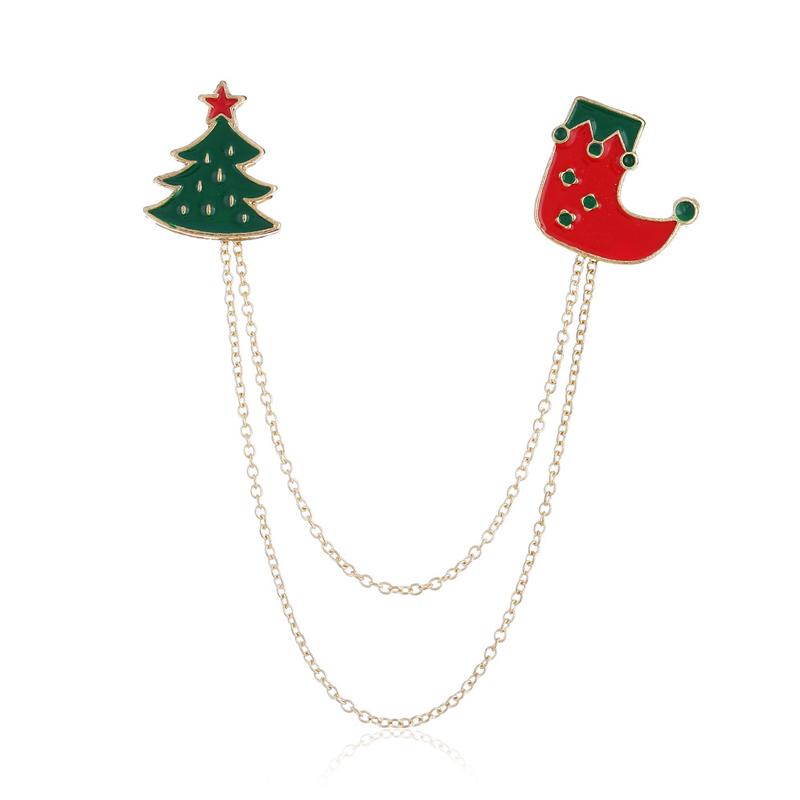 Cartoon Double-layer Chain Bell Santa Brooch