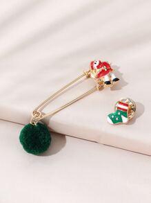 2pcs Christmas Santa Claus Design Brooch