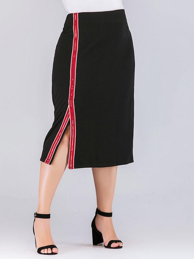 Ericdress PlusSize High Waist Bodycon Stripe Mid-Calf High Waist Skirt