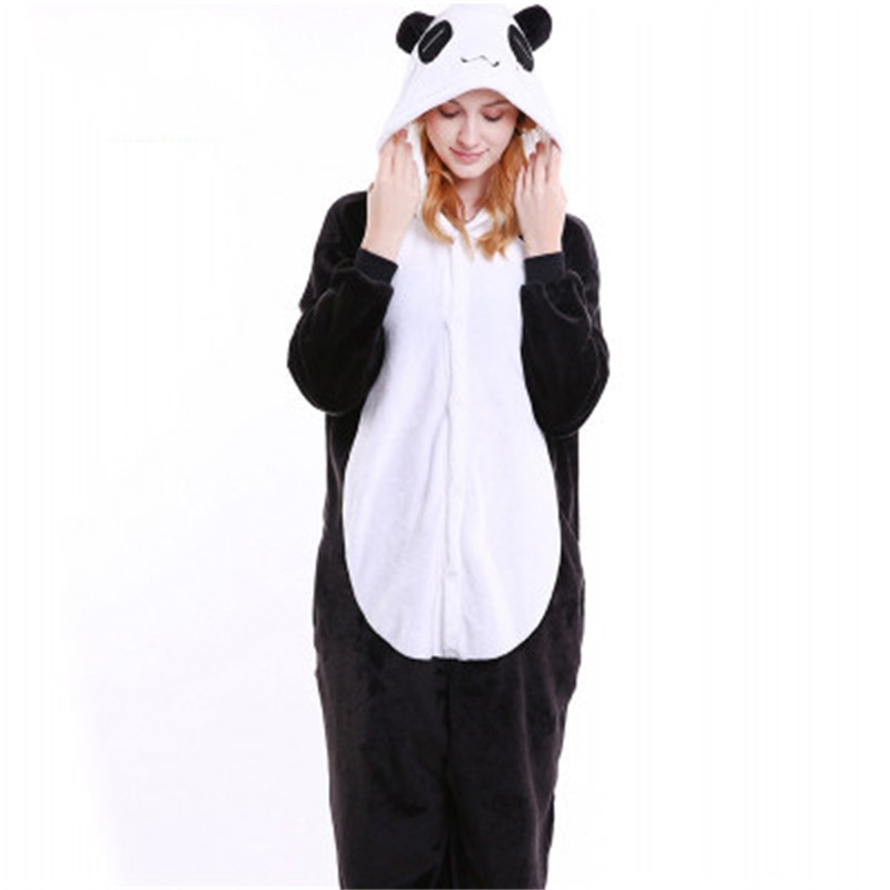 Halloween Lovely Panda Flannel One-Piece Stretchable Pajama Jumpsuit