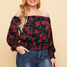 Plus Allover Floral Print Shirred Detail Bardot Top