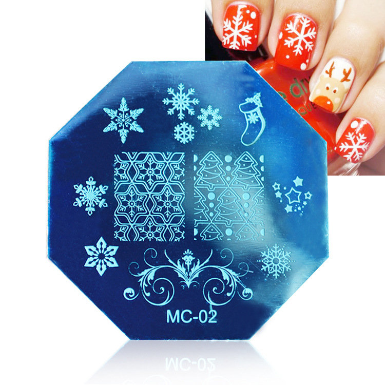 Christmas Nail Stamping Plates Image Stamp Template Manicure Stencil Santa Claus