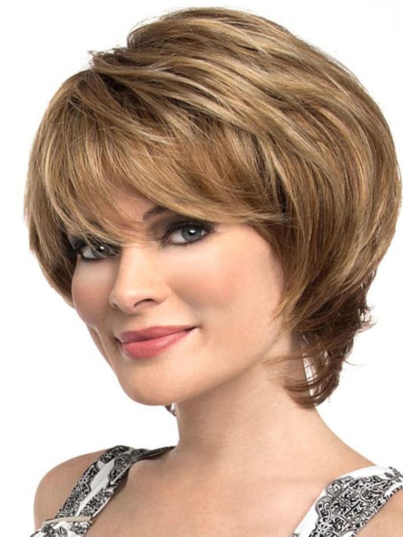 Ericdress Short Bob Hairstyles Womens Natural Straight Human Hair Wih Bangs Lace Front Cap Wigs 8Inch