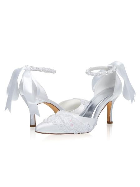 Milanoo Zapatos de novia de saten 8cm Zapatos de Fiesta Zapatos blanco  de tacon de stiletto Zapatos de boda de puntera puntiaguada con perlas