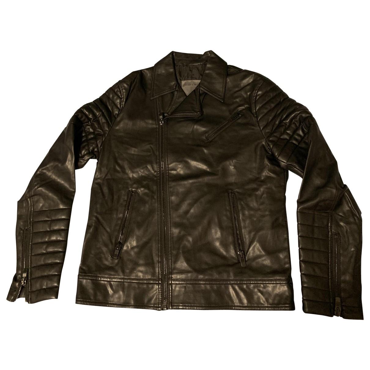 Zara \N Black Leather jacket  for Men XL International