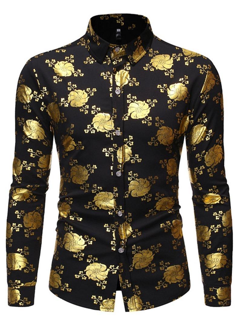 Ericdress Color Block Casual Lapel Slim Men's Single-Breasted Shirt