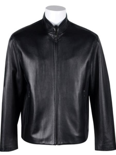 Mens Standing Collar with New Zealand Lamb Leather Zip Jacket Black