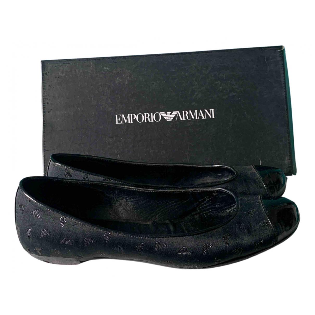 Emporio Armani - Ballerines   pour femme en toile - noir