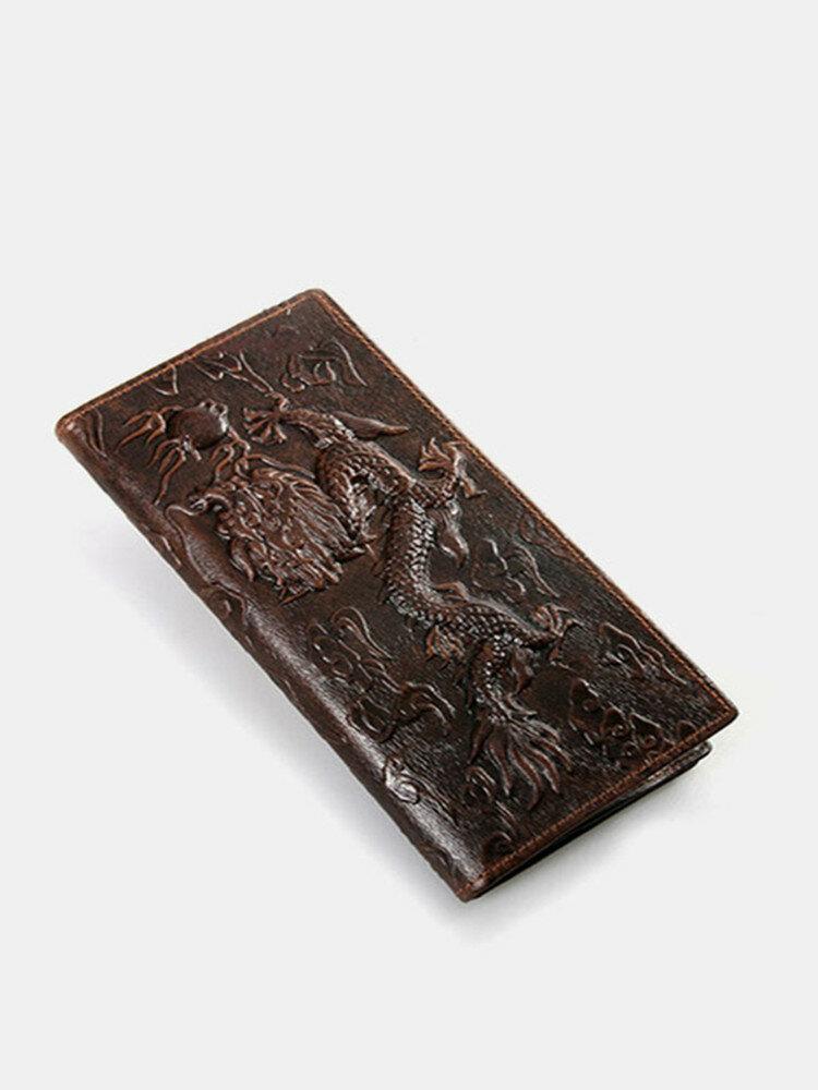 Men Genuine Leather Retro Dragon Pattern PrintMulti-card Slots Money Clips Wallet