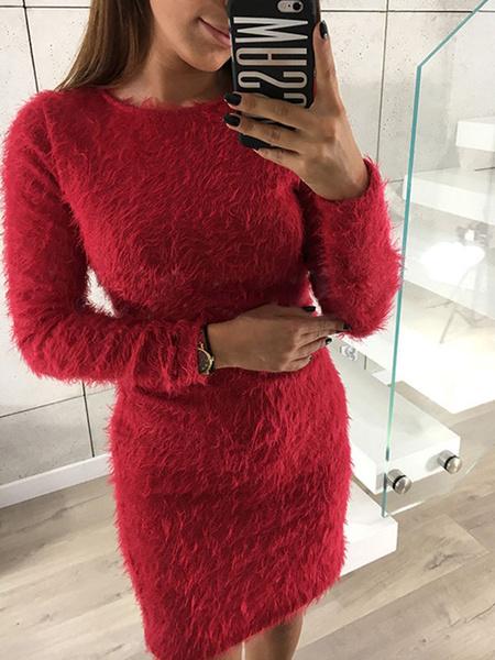 Milanoo Long Sleeve Bodycon Dress Round Neck Fluffy Sexy Mini Dress