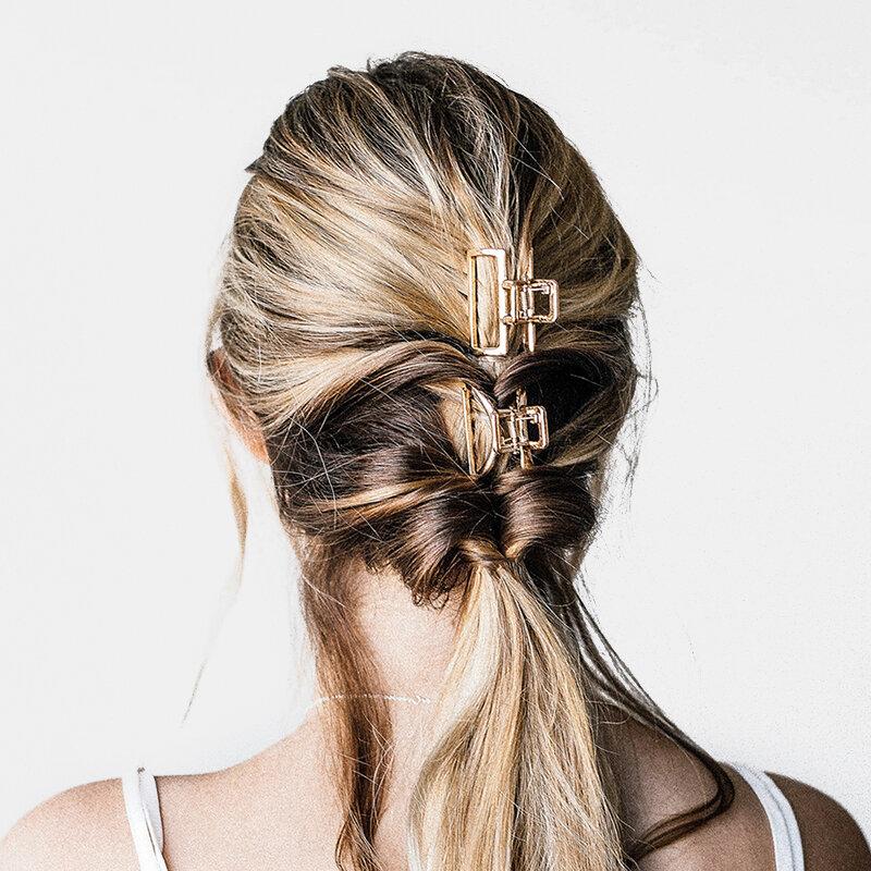 Geometric Metal Hair Claw Semicircle Moon Shape Hair Clip Claws Matte Hairpin Hair Accessories