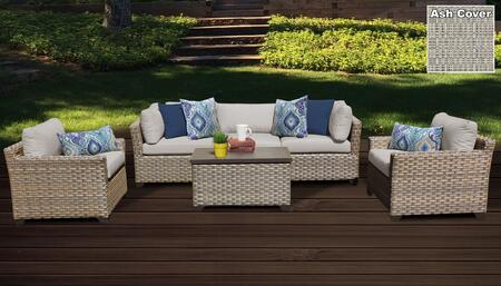 Monterey Collection MONTEREY-06b-ASH 6-Piece Patio Set 06b with 2 Corner Chair   1 Armless Chair   1 Storage Coffee Table   2 Club Chair - Beige and