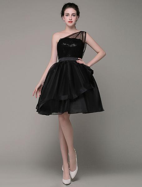Milanoo  Correa de vestido de Coctel de un hombro vestido de tul con lentejuelas Organza faja hasta la rodilla vestido de baile