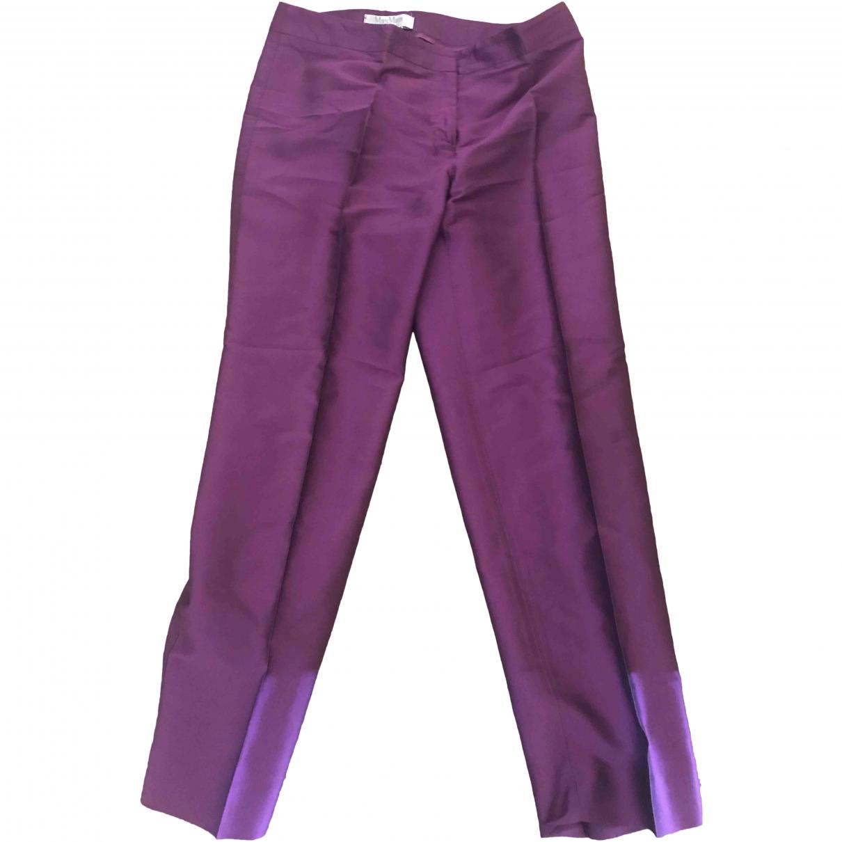 Max Mara \N Purple Silk Trousers for Women 44 FR