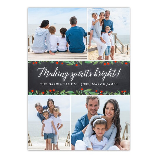 20 Pack of Gartner Studios® Personalized Making Spirits Bright Holiday Photo Card in Charcoal | 5