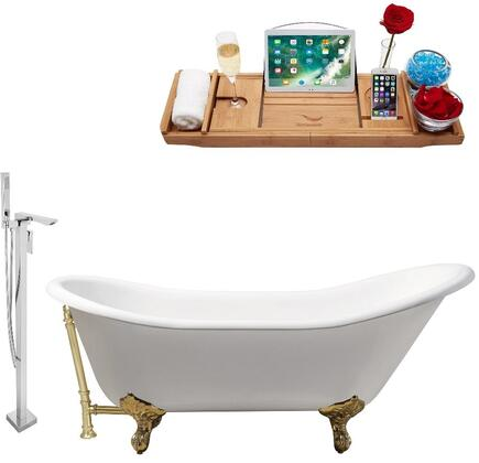 RH5420GLD-GLD-140 67 Oval Shaped Soaking Clawfoot Tub With 45 Gallons Capacity  Vintage Style  Enamel And Cast Iron Construction  And Floor Mounted
