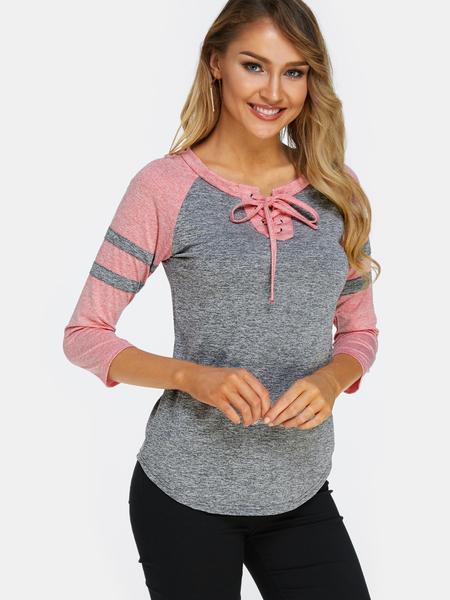Yoins Dark Grey Lace Up Front Design Stripe Crew Neck Long Sleeves T-shirts
