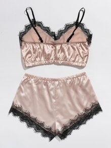 Lace Trim Satin Bralette With Shorts