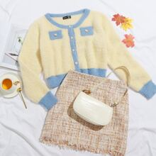 Button Front Colorblock Fluffy Knit Cardigan