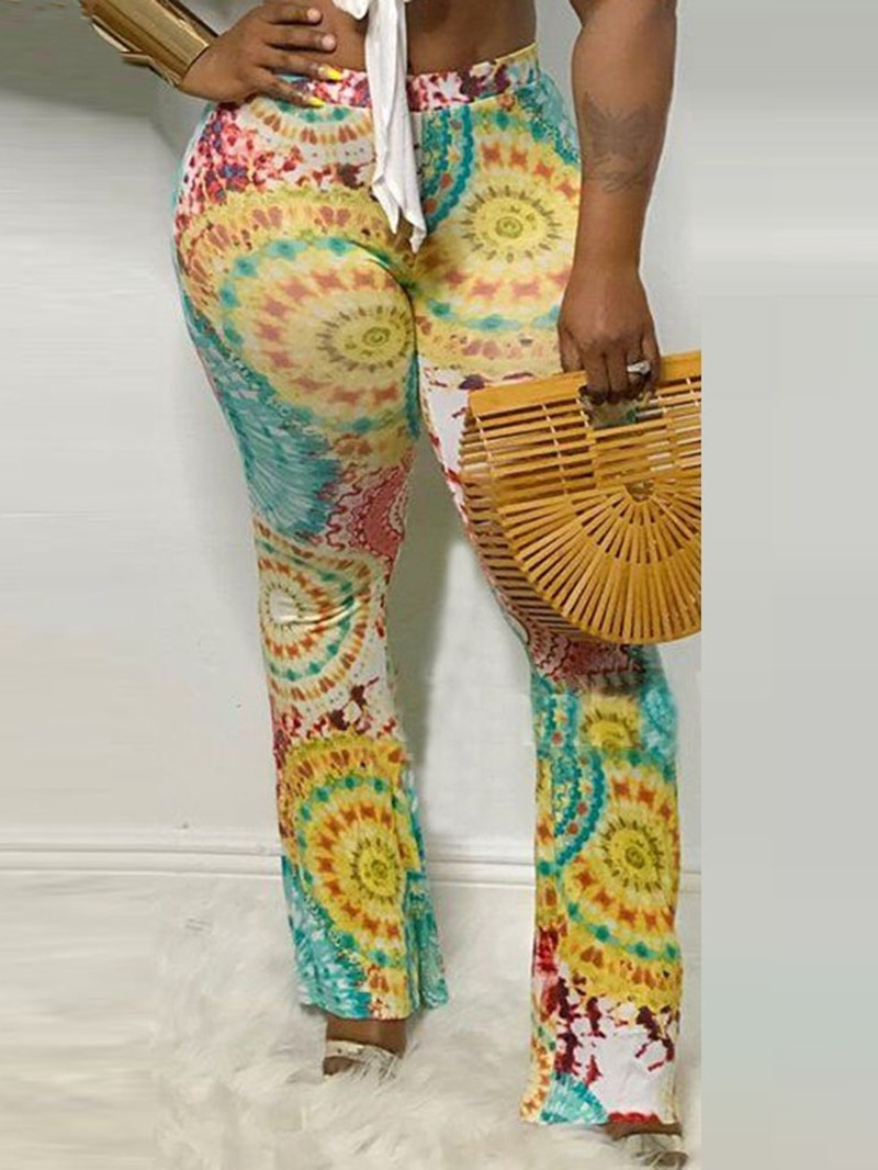 Ericdress Print Slim Full Length Bellbottoms Casual Pants