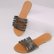 Strappy Rhinestone Open Toe Slide Sandals