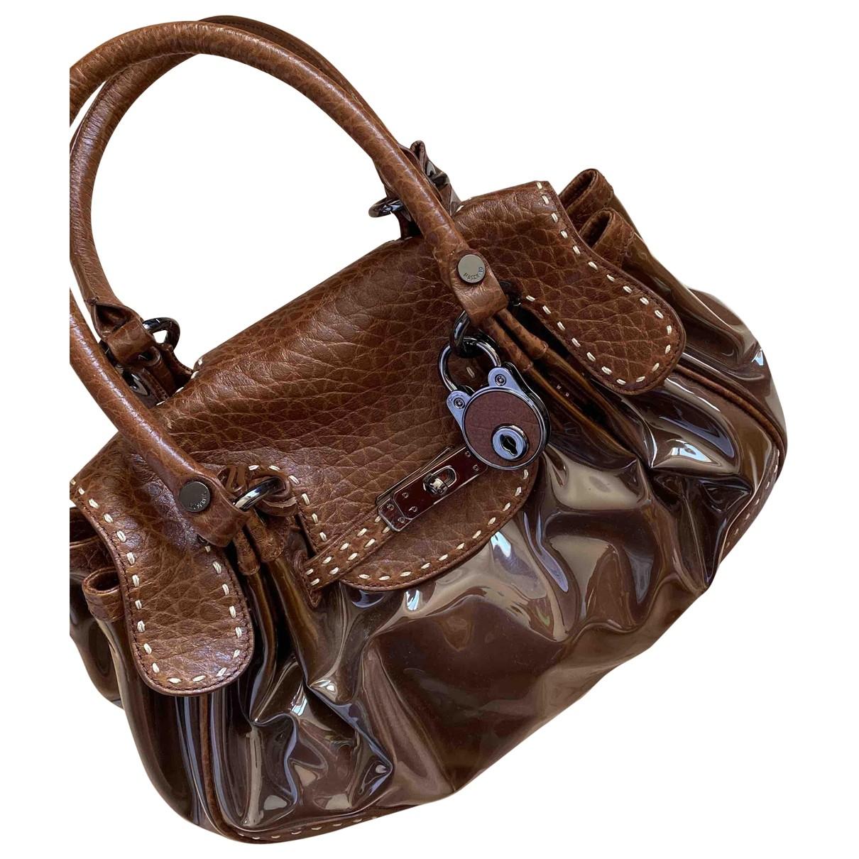Moschino - Sac a main   pour femme en cuir verni - marron