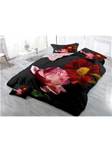 Pink Rose and Red Dahlia Wear-resistant Breathable High Quality 60s Cotton 4-Piece 3D Bedding Sets