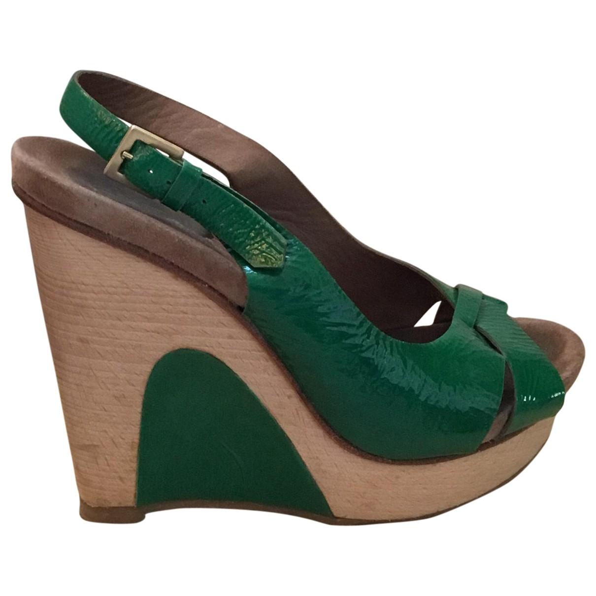Yiqing Yin \N Green Patent leather Mules & Clogs for Women 37 EU