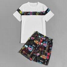 Camiseta de hombres con estampado de grafetti con shorts