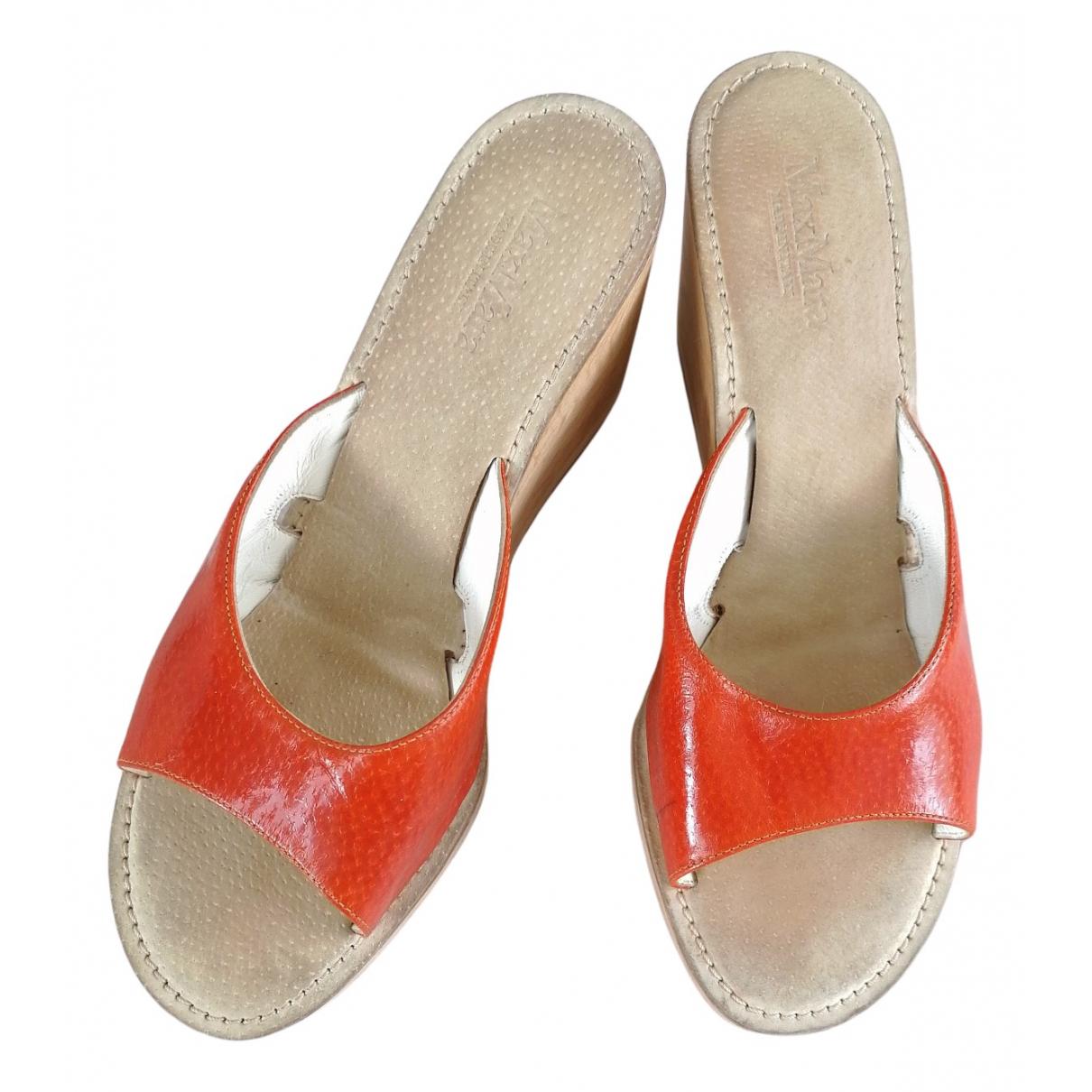 Max Mara N Orange Leather Sandals for Women 38 EU
