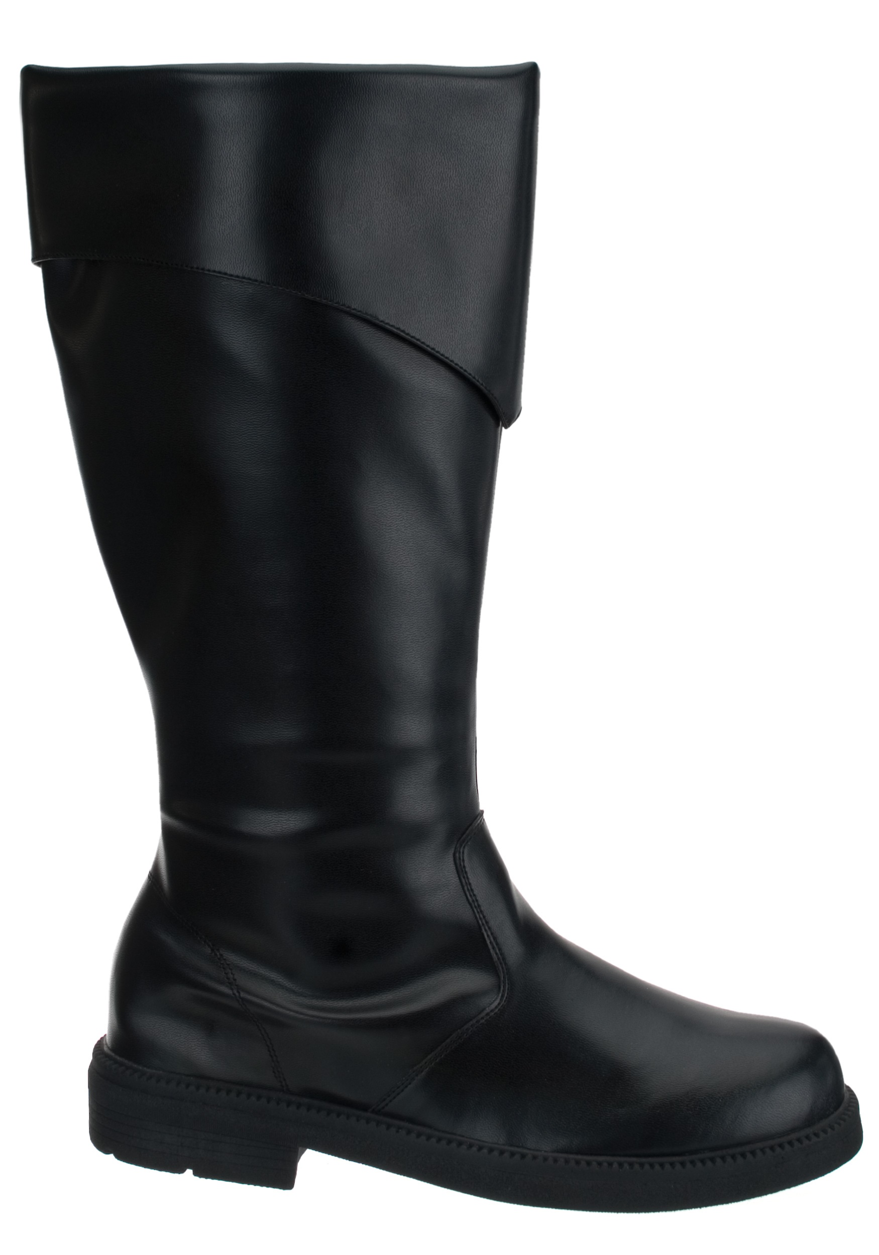 Tall Cuffed Black Costume Boots for Men