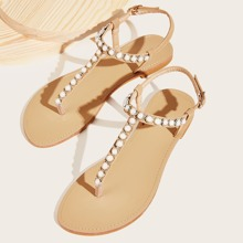 Faux Pearl Decor Toe Post Sandals