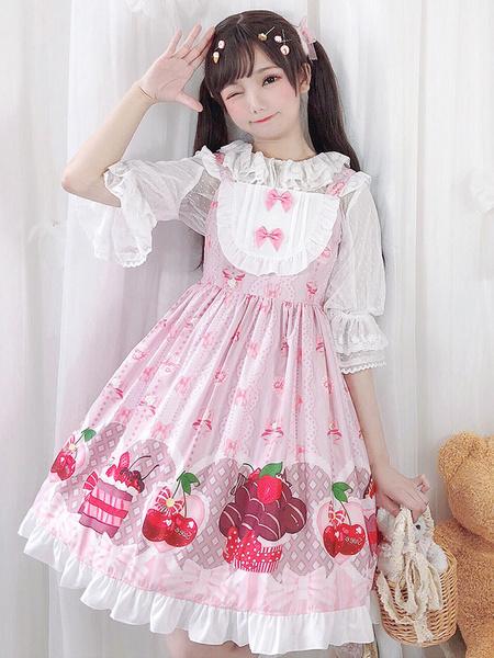 Milanoo Vestido Sweet Lolita JSK Lazos con estampado de cerezas Faldas rojas de jersey de Lolita