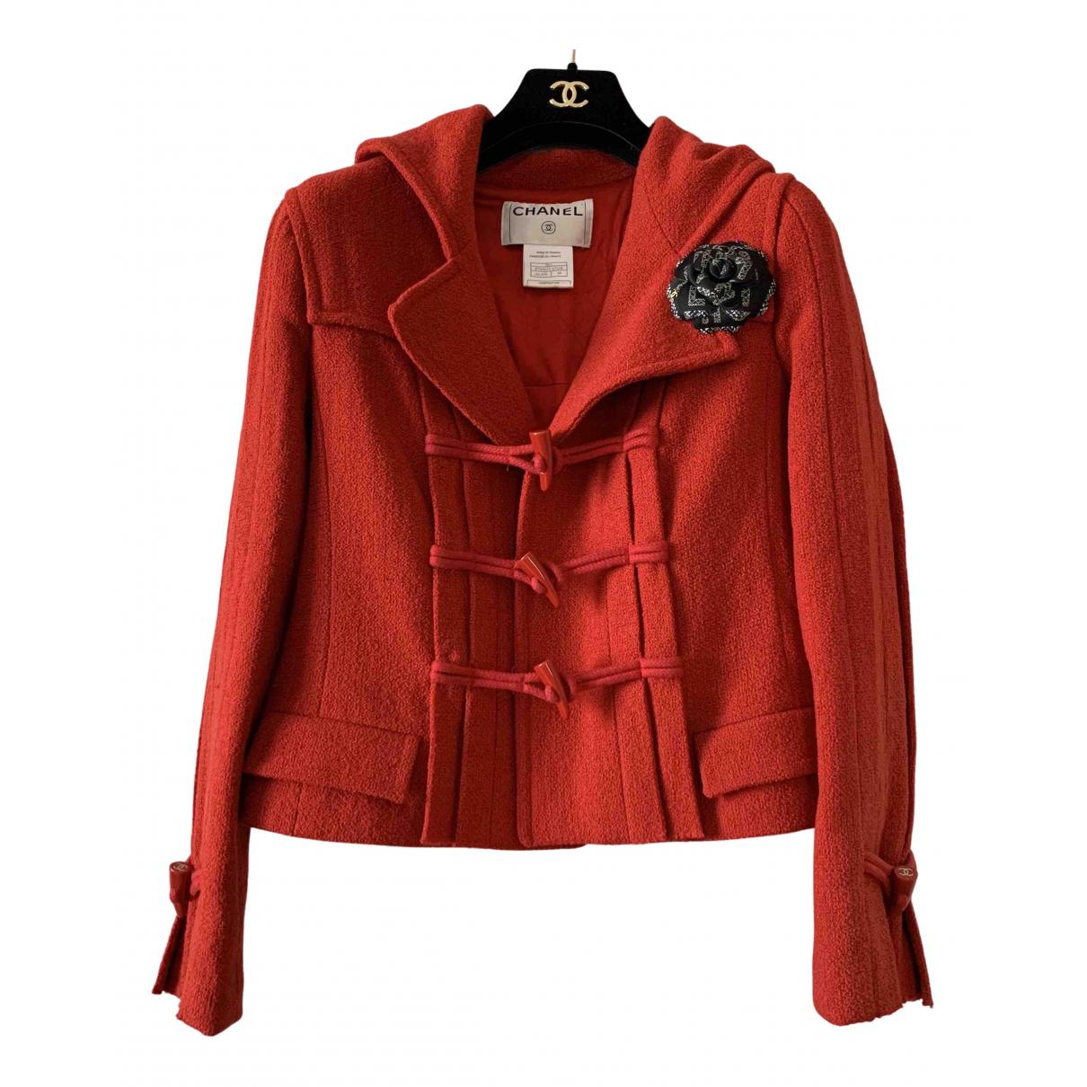 Chanel - Manteau   pour femme en laine - rouge