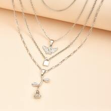 Layered Rose & Angel Pendant Necklace