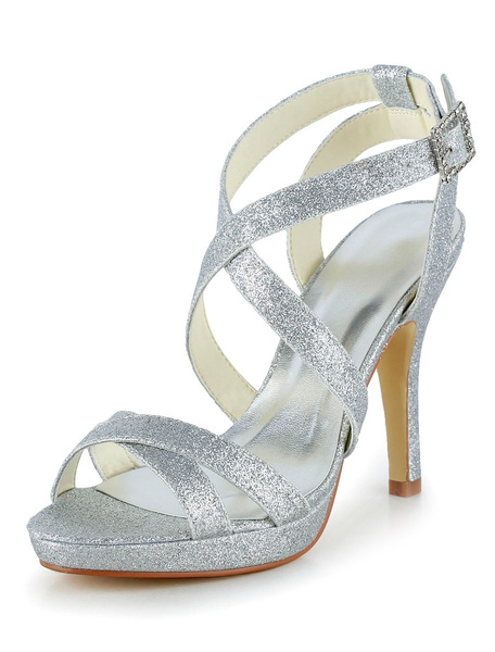 Milanoo Silver Silk And Satin Open Toe Pumps For Bride