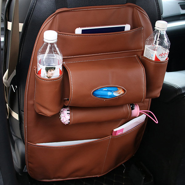 Leather Chair Back Storage Bag Multi-function Car Set Box Back Bag Outdoors Hanging Bag