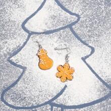 Weihnachten Ohrringe mit Schneemann Design und Keks Design