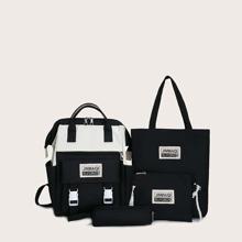 4 piezas set de mochila de dos colores