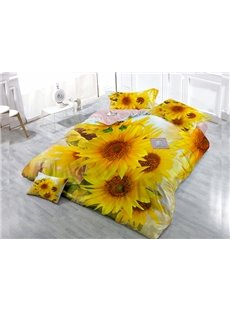 Full-Blown Sunflower Wear-resistant Breathable High Quality 60s Cotton 4-Piece 3D Bedding Sets