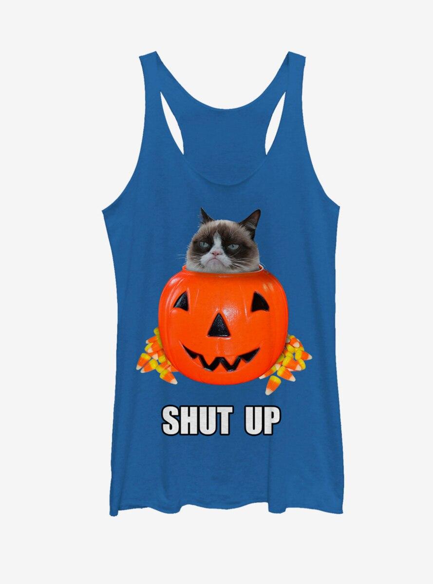 Grumpy Cat Hallowen Candy Shut Up Womens Tank
