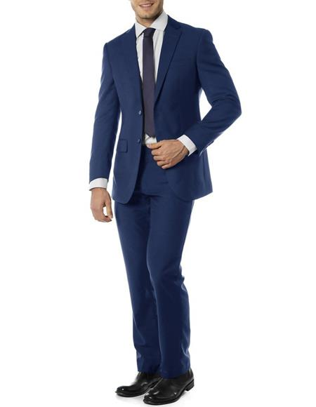 Mens Single Breasted Notch Label Slim Fit Suit Blue