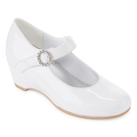 Christie & Jill Little Kid/Big Kid Girls Heart Mary Jane Shoes, 3 Medium, White